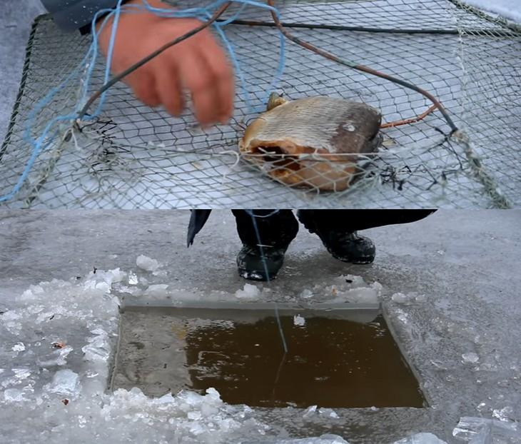 зимняя рыбалка на раков с раколовкой